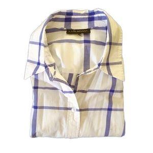 Tops - Cobalt Blue Plaid Striped White Tunic Oxford Shirt